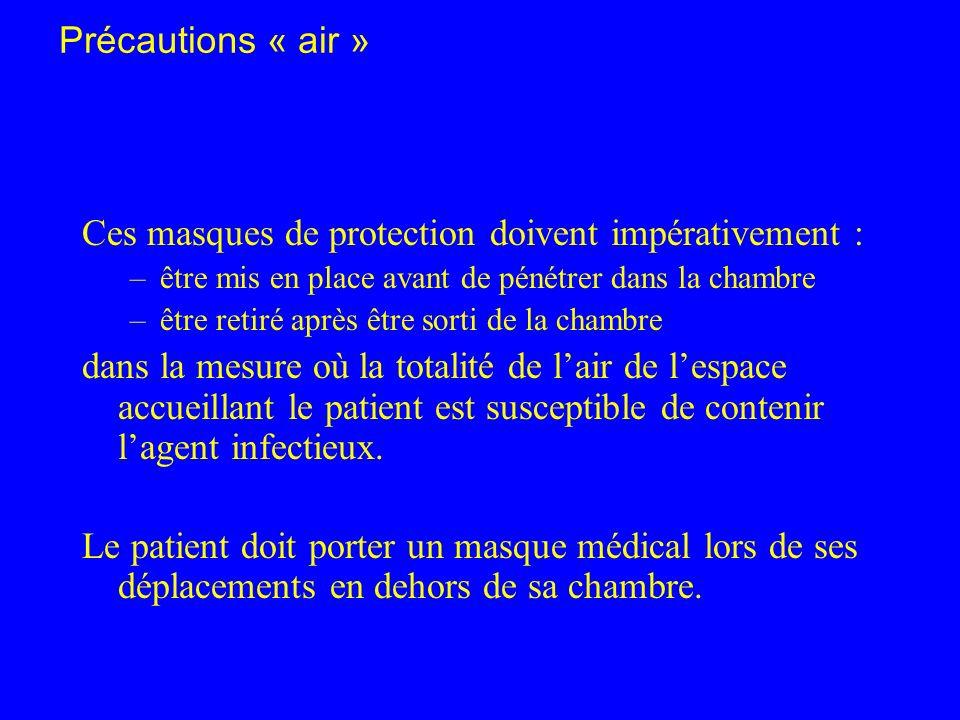 Précautions « air » Ces masques de protection doivent impérativement : –être mis en place avant de pénétrer dans la chambre –être retiré après être so