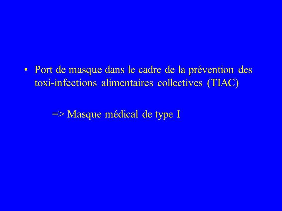 Port de masque dans le cadre de la prévention des toxi-infections alimentaires collectives (TIAC) => Masque médical de type I