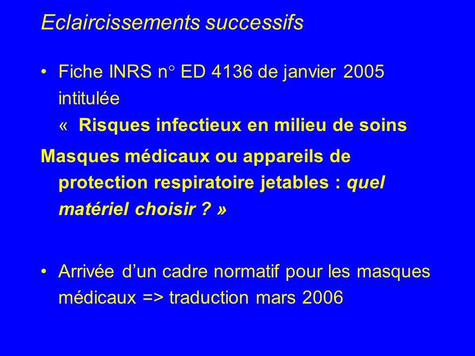 Eclaircissements successifs Fiche INRS n° ED 4136 de janvier 2005 intitulée « Risques infectieux en milieu de soins Masques médicaux ou appareils de p