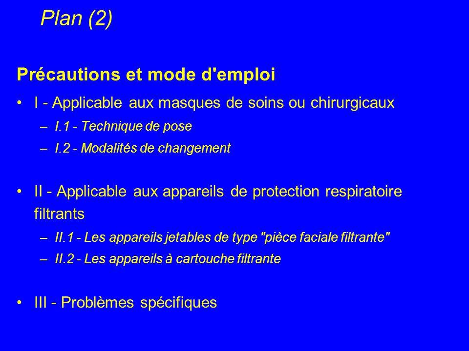 Plan (2) Précautions et mode d'emploi I - Applicable aux masques de soins ou chirurgicaux –I.1 - Technique de pose –I.2 - Modalités de changement II -
