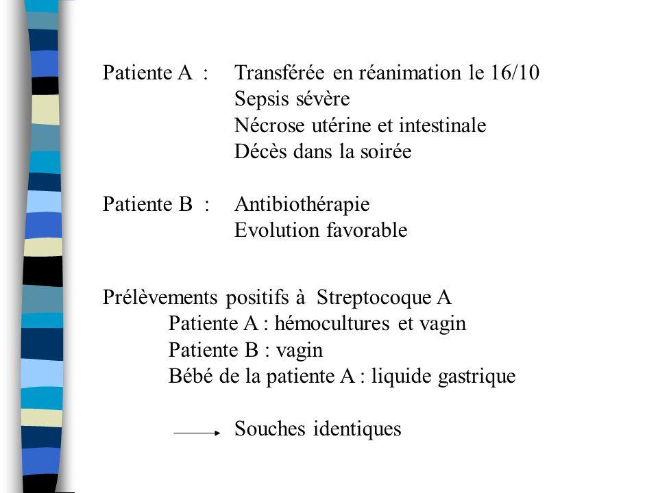 Patiente A : Transférée en réanimation le 16/10 Sepsis sévère Nécrose utérine et intestinale Décès dans la soirée Patiente B : Antibiothérapie Evoluti