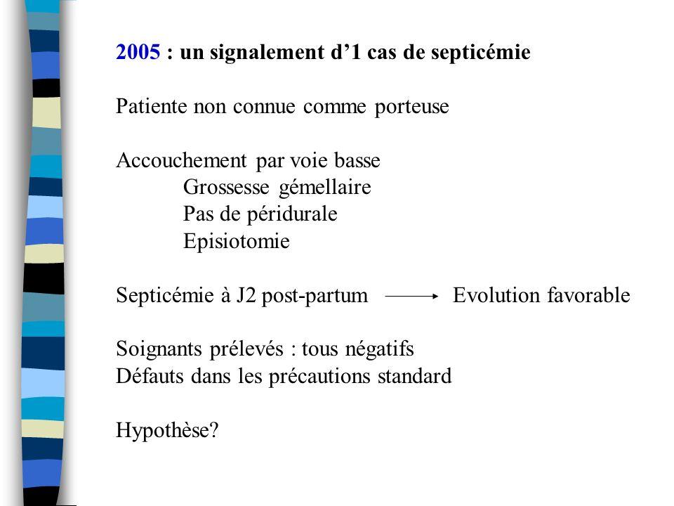2005 : un signalement d1 cas de septicémie Patiente non connue comme porteuse Accouchement par voie basse Grossesse gémellaire Pas de péridurale Episi