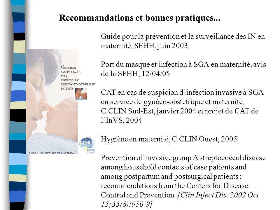 Recommandations et bonnes pratiques... Guide pour la prévention et la surveillance des IN en maternité, SFHH, juin 2003 Port du masque et infection à
