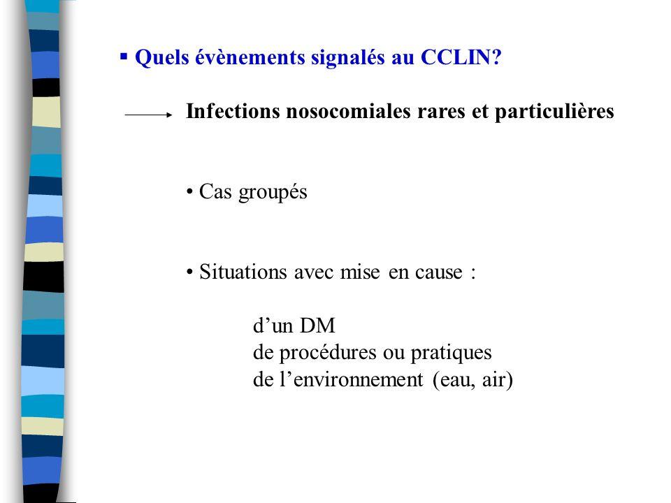 Quels évènements signalés au CCLIN? Infections nosocomiales rares et particulières Cas groupés Situations avec mise en cause : dun DM de procédures ou