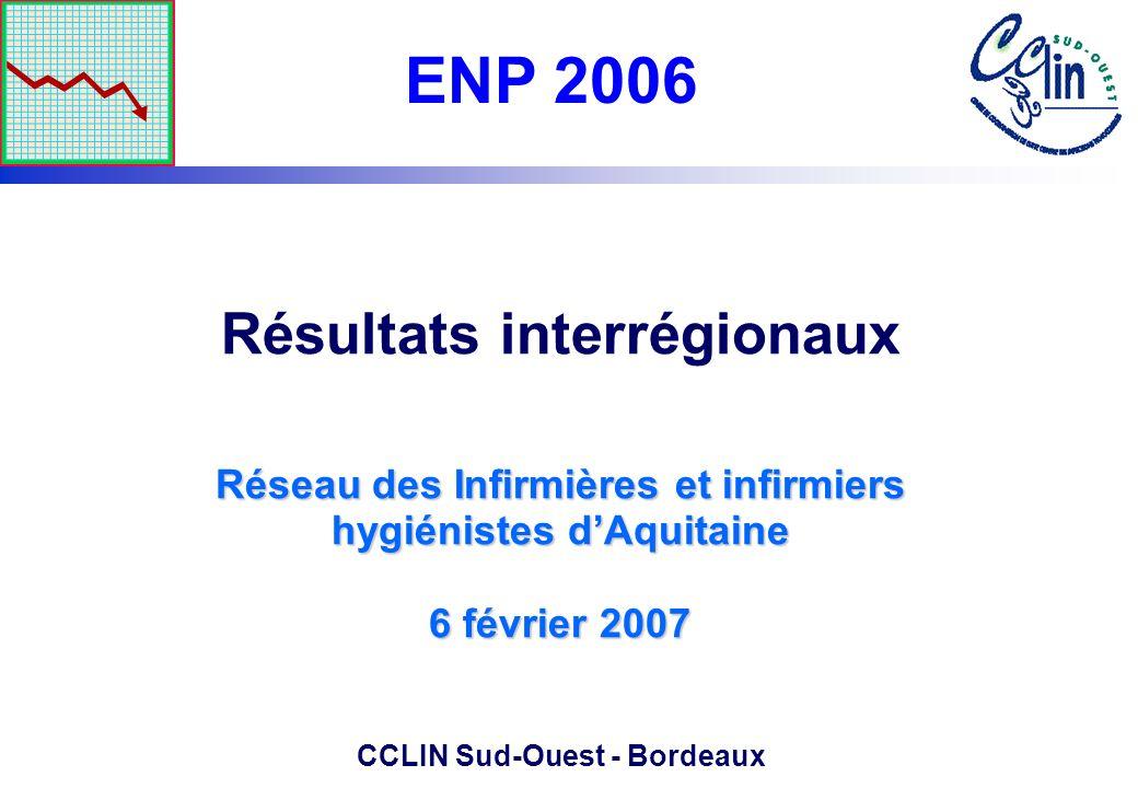 Réseau des Infirmières et infirmiers hygiénistes dAquitaine 6 février 2007 Résultats interrégionaux Réseau des Infirmières et infirmiers hygiénistes d