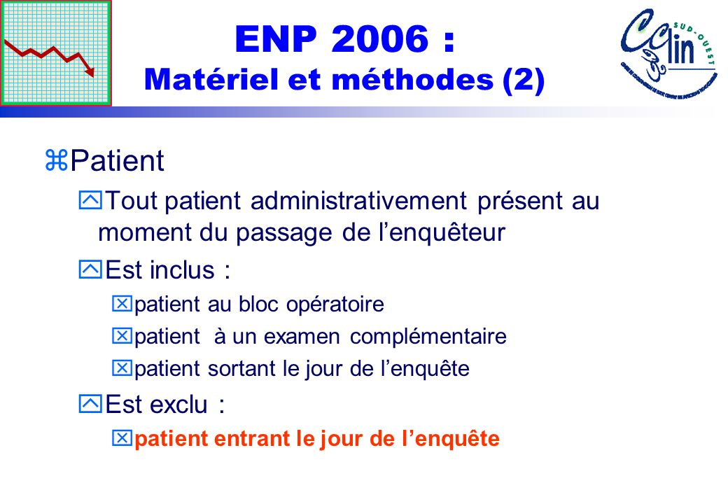 ENP 2006 : Matériel et méthodes (2) zPatient yTout patient administrativement présent au moment du passage de lenquêteur yEst inclus : xpatient au blo