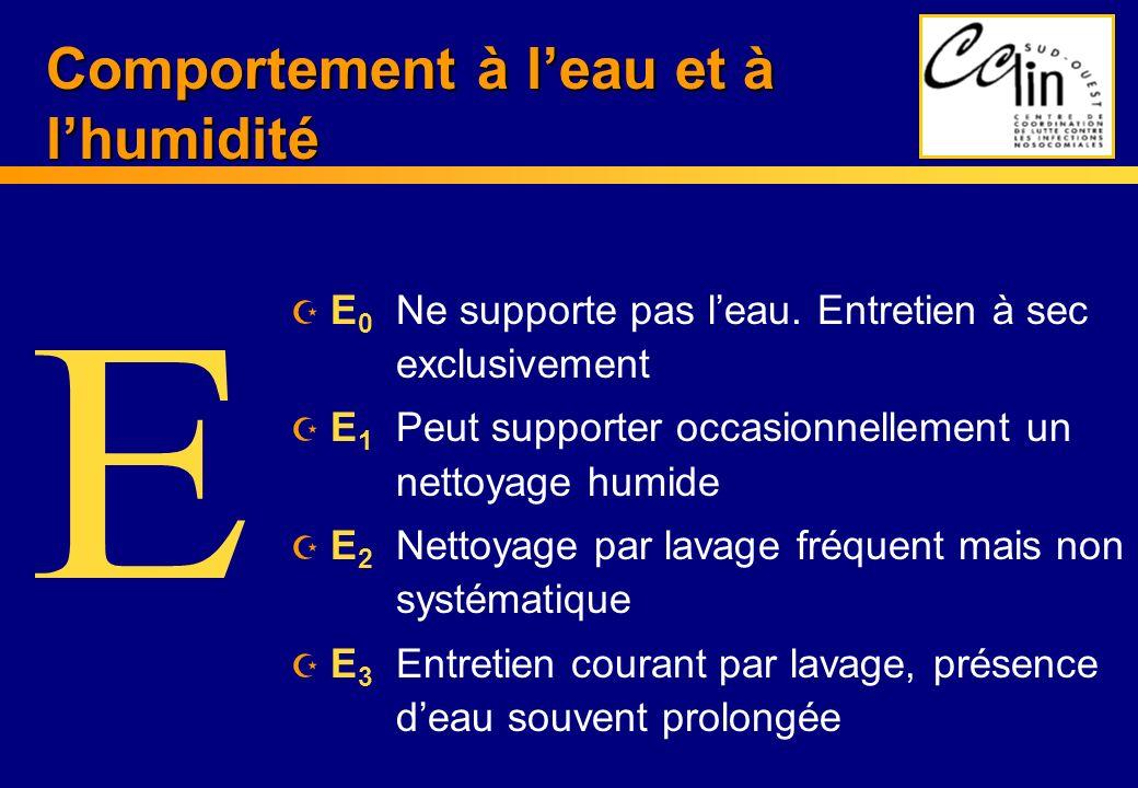 Comportement à leau et à lhumidité Z E 0 Ne supporte pas leau. Entretien à sec exclusivement Z E 1 Peut supporter occasionnellement un nettoyage humid