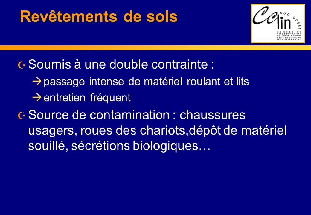 Revêtements de sols Z Soumis à une double contrainte : à passage intense de matériel roulant et lits à entretien fréquent Z Source de contamination :