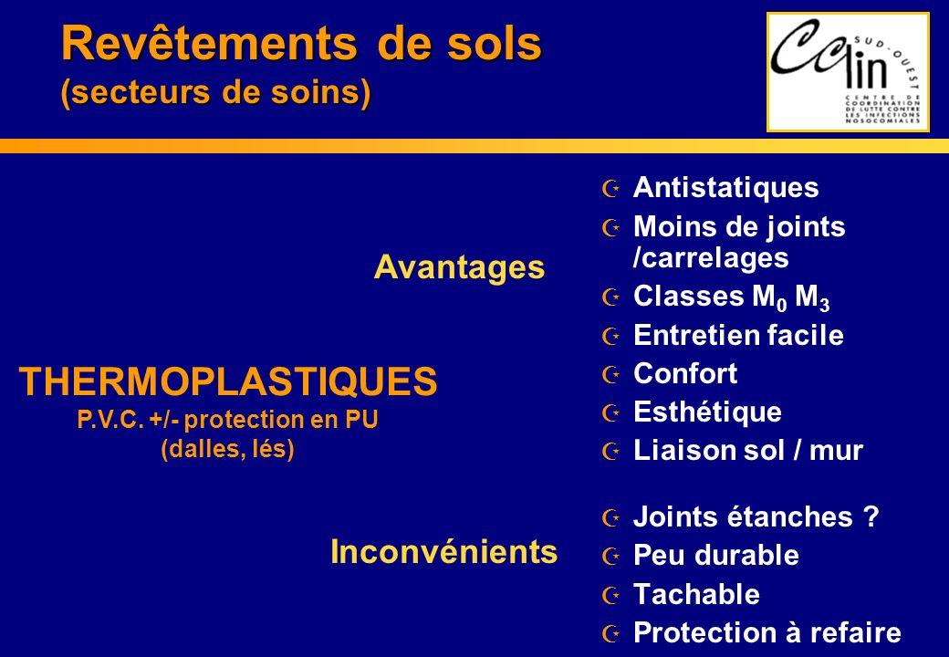 Revêtements de sols (secteurs de soins) Z Antistatiques Z Moins de joints /carrelages Z Classes M 0 M 3 Z Entretien facile Z Confort Z Esthétique Z Li