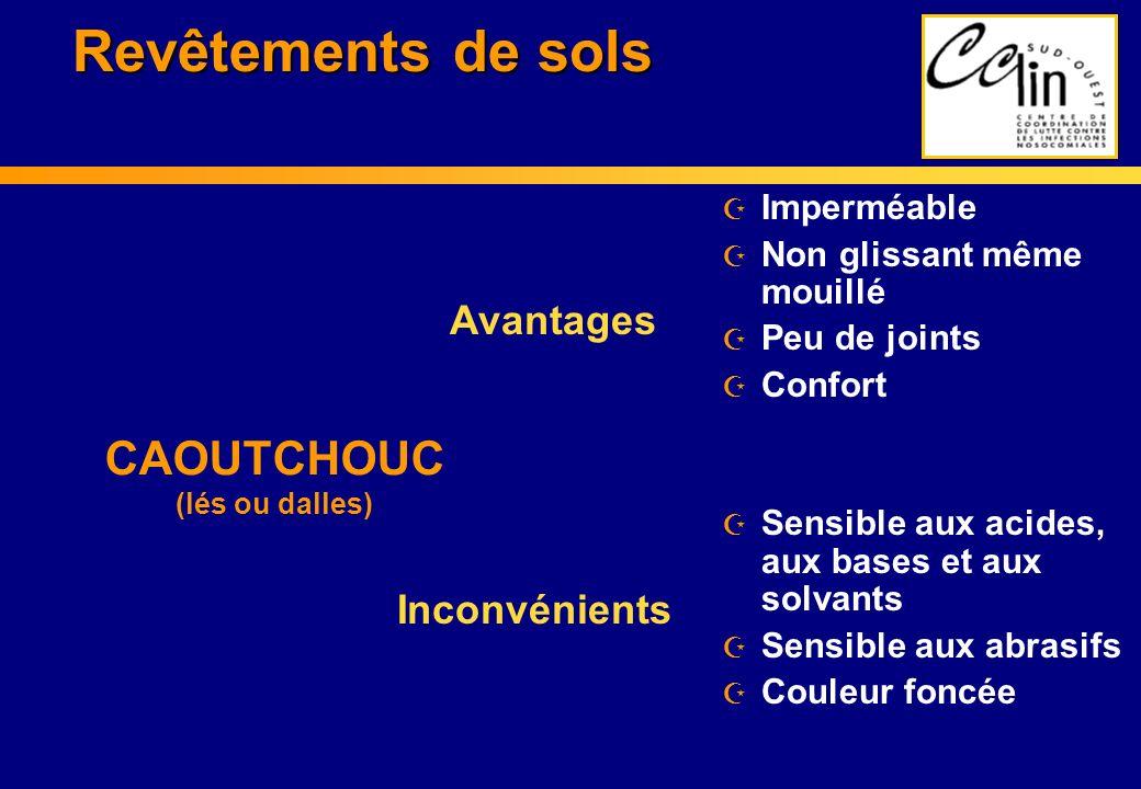 Revêtements de sols Z Imperméable Z Non glissant même mouillé Z Peu de joints Z Confort Z Sensible aux acides, aux bases et aux solvants Z Sensible au