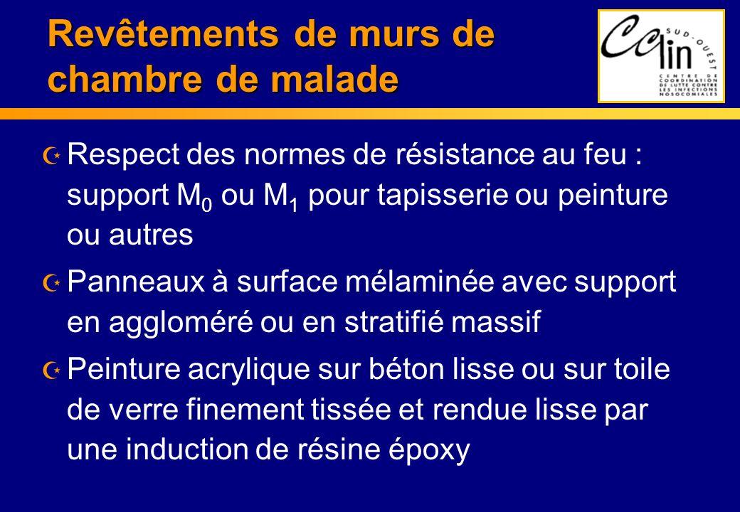 Revêtements de murs de chambre de malade Z Respect des normes de résistance au feu : support M 0 ou M 1 pour tapisserie ou peinture ou autres Z Pannea