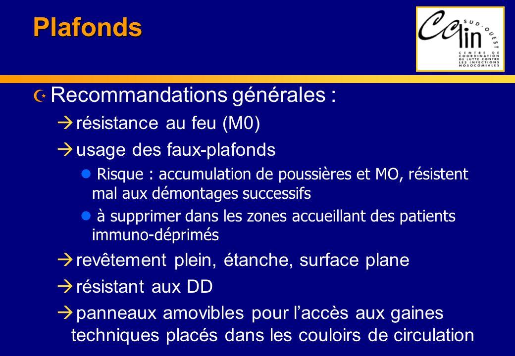Plafonds Z Recommandations générales : à résistance au feu (M0) à usage des faux-plafonds l Risque : accumulation de poussières et MO, résistent mal a
