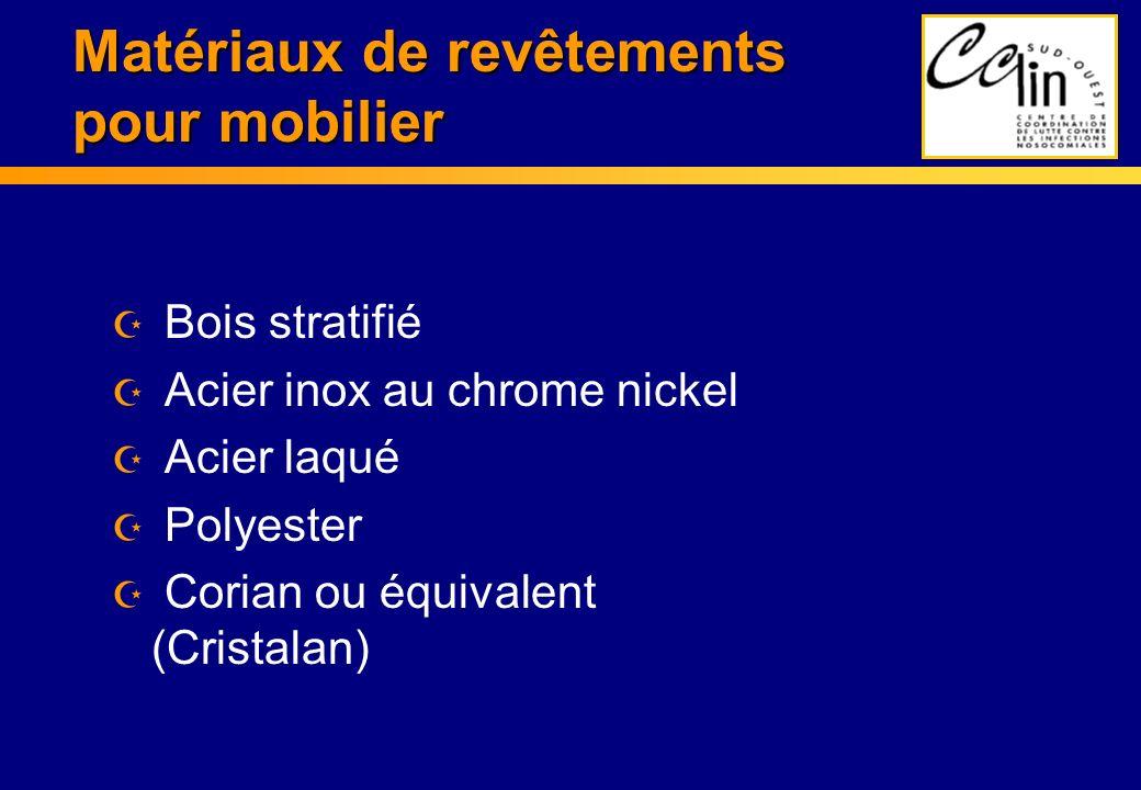 Matériaux de revêtements pour mobilier Z Bois stratifié Z Acier inox au chrome nickel Z Acier laqué Z Polyester Z Corian ou équivalent (Cristalan)