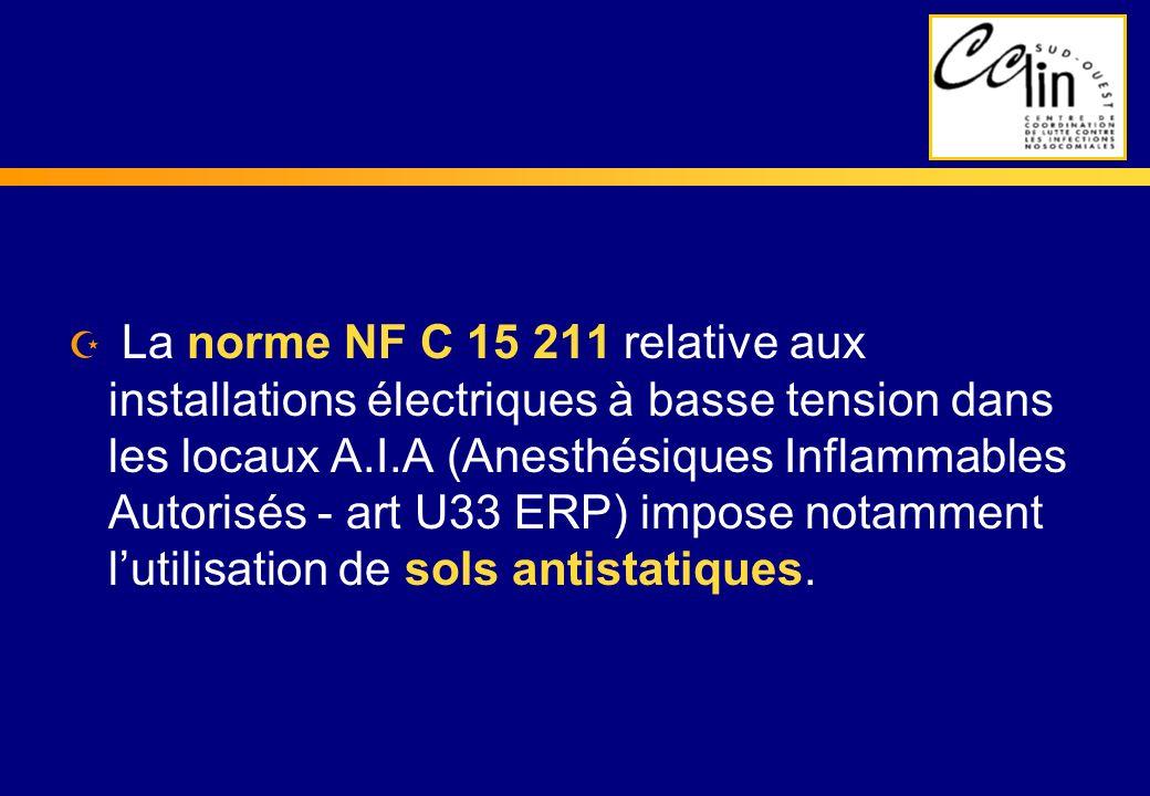 Z La norme NF C 15 211 relative aux installations électriques à basse tension dans les locaux A.I.A (Anesthésiques Inflammables Autorisés - art U33 ER