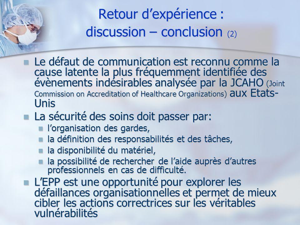 Retour dexpérience : discussion – conclusion (2) Le défaut de communication est reconnu comme la cause latente la plus fréquemment identifiée des évèn