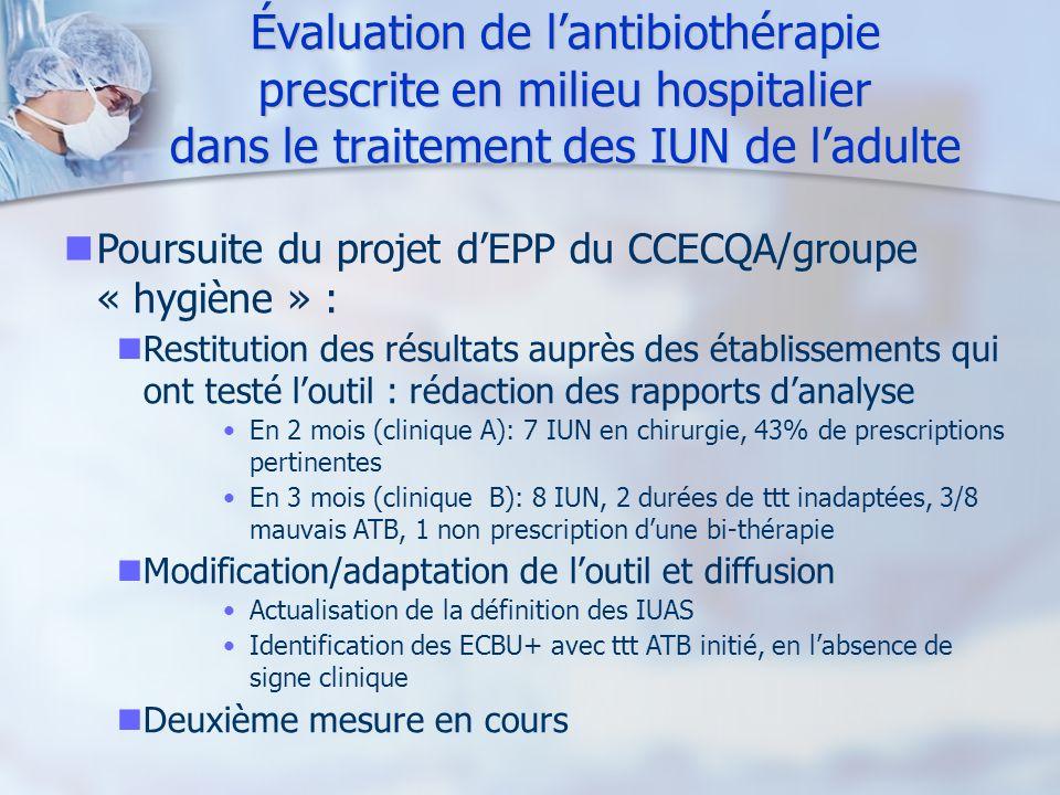 Évaluation de lantibiothérapie prescrite en milieu hospitalier dans le traitement des IUN de ladulte Poursuite du projet dEPP du CCECQA/groupe « hygiè