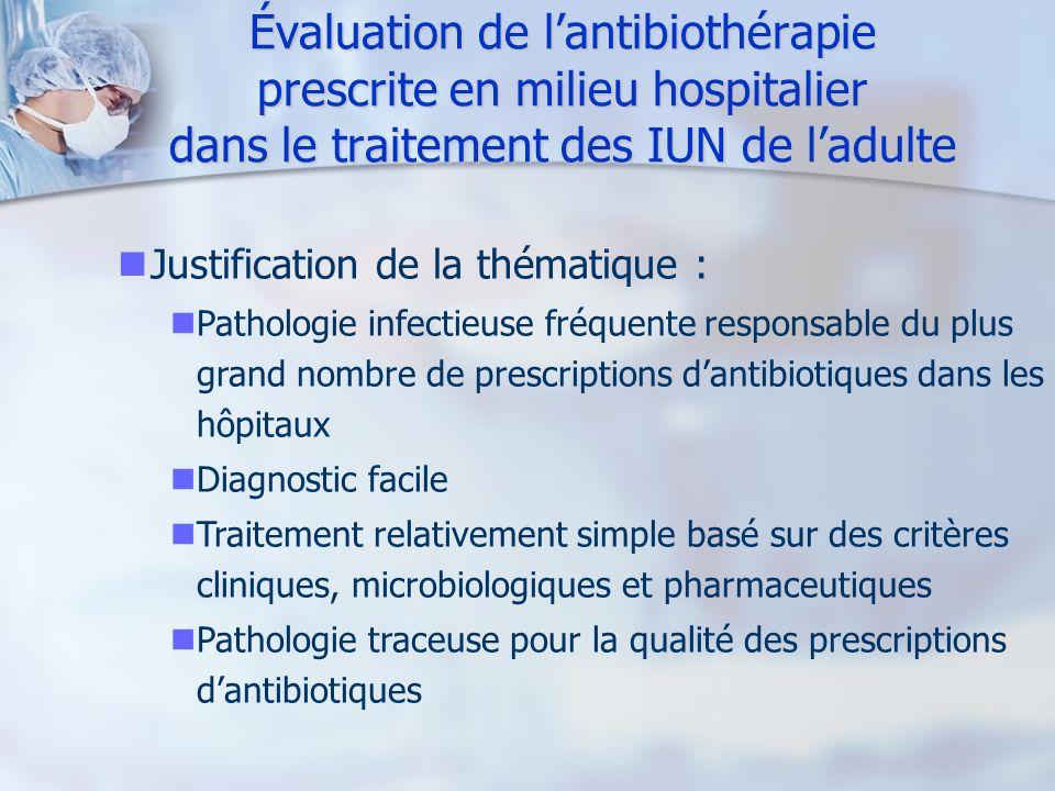 Évaluation de lantibiothérapie prescrite en milieu hospitalier dans le traitement des IUN de ladulte Justification de la thématique : Pathologie infec