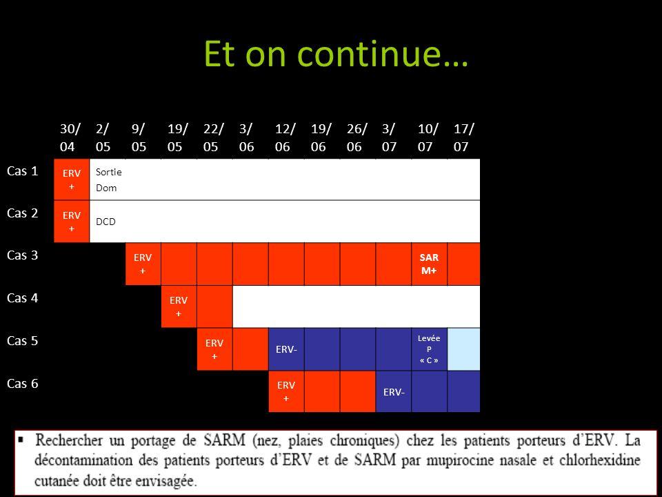 Et on continue… 30/ 04 2/ 05 9/ 05 19/ 05 22/ 05 3/ 06 12/ 06 19/ 06 26/ 06 3/ 07 10/ 07 17/ 07 24/ 07 31/ 07 04/ 08 07/ 08 25/ 08 Cas 1 ERV + Sortie