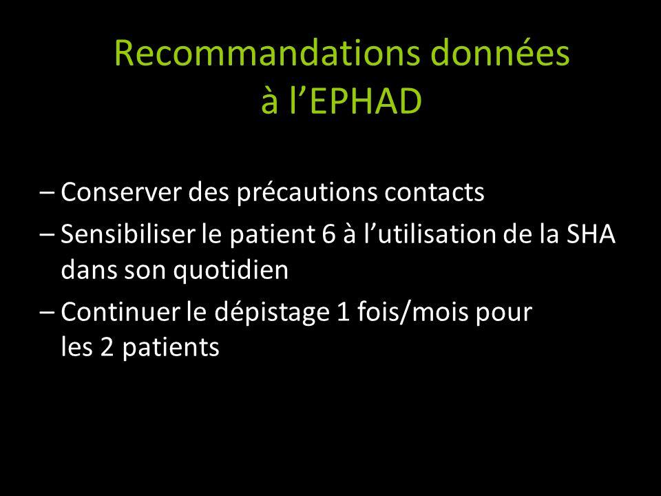 Recommandations données à lEPHAD –Conserver des précautions contacts –Sensibiliser le patient 6 à lutilisation de la SHA dans son quotidien –Continuer