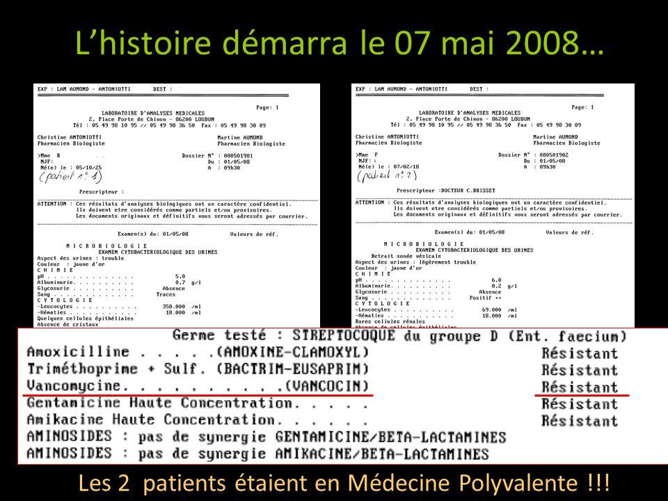 Lhistoire démarra le 07 mai 2008… Mettre bons de résultats Les 2 patients étaient en Médecine Polyvalente !!!