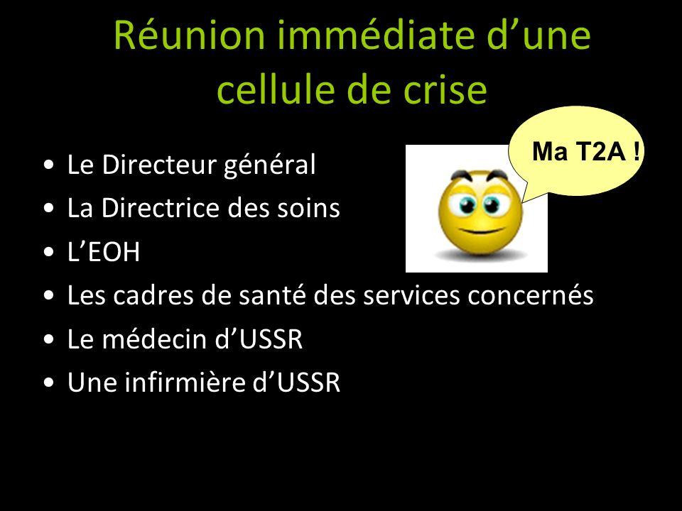 Réunion immédiate dune cellule de crise Le Directeur général La Directrice des soins LEOH Les cadres de santé des services concernés Le médecin dUSSR