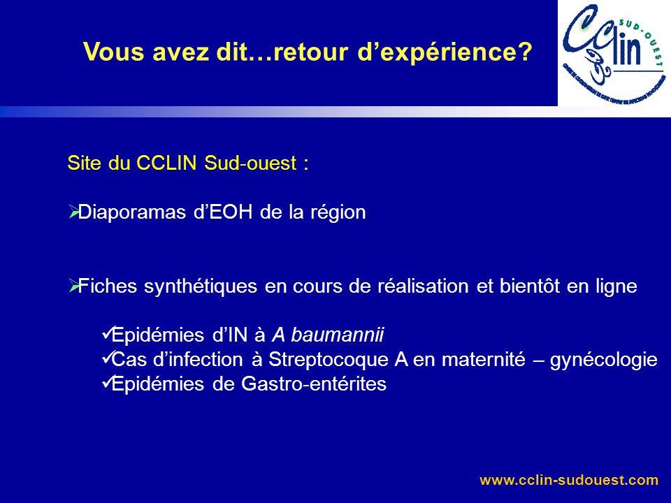 www.cclin-sudouest.com Vous avez dit…retour dexpérience? Site du CCLIN Sud-ouest : Diaporamas dEOH de la région Fiches synthétiques en cours de réalis