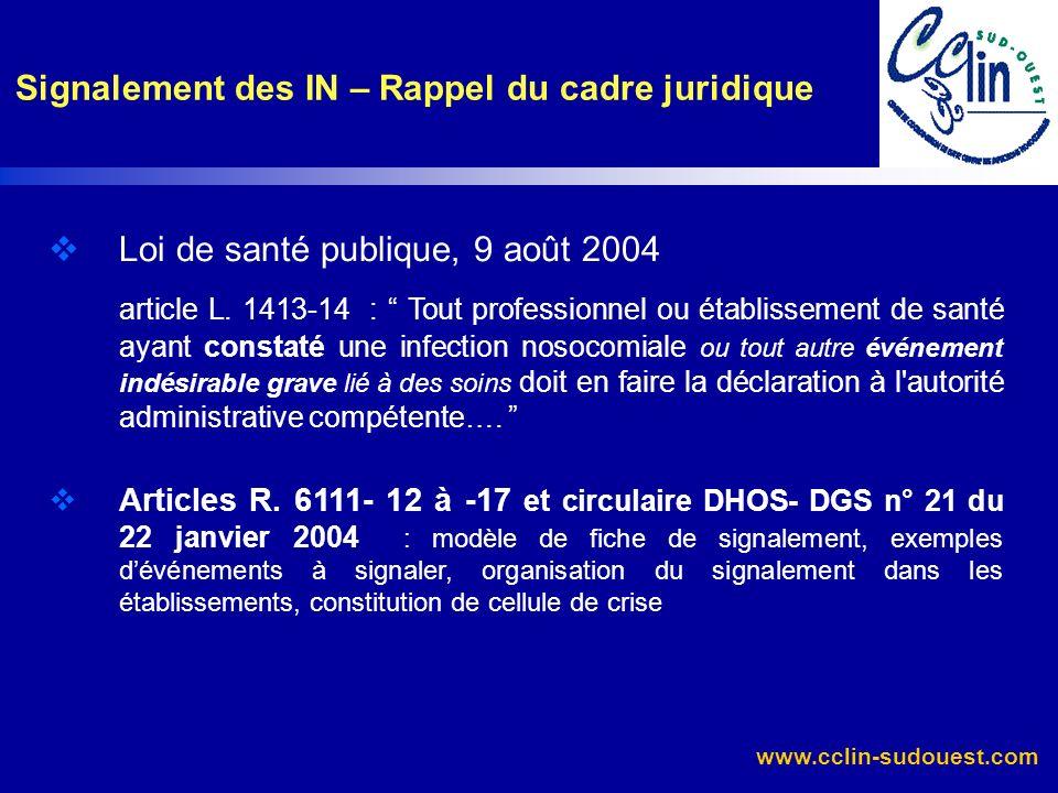 www.cclin-sudouest.com Loi de santé publique, 9 août 2004 article L. 1413-14 : Tout professionnel ou établissement de santé ayant constaté une infecti