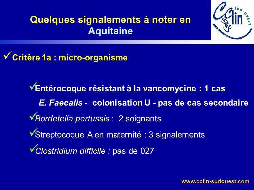 www.cclin-sudouest.com Critère 1a : micro-organisme Entérocoque résistant à la vancomycine : 1 cas E. Faecalis - colonisation U - pas de cas secondair