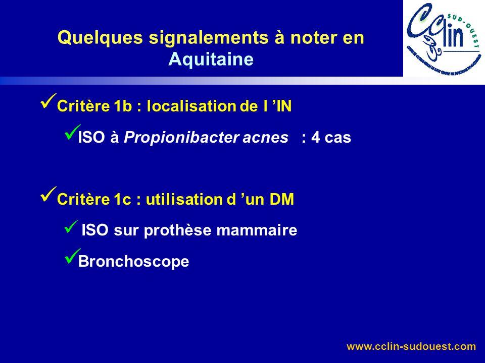 www.cclin-sudouest.com Critère 1d : procédures ou pratiques Infections sur CIP : 3 signalements Critère 3 : environnement Légionellose : 1 signalement Critère 4 : MDO Tuberculose (IDE urgences) Quelques signalements à noter en Aquitaine