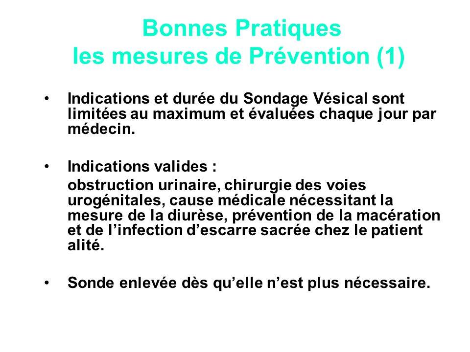 Bonnes Pratiques les mesures de Prévention (1) Indications et durée du Sondage Vésical sont limitées au maximum et évaluées chaque jour par médecin. I