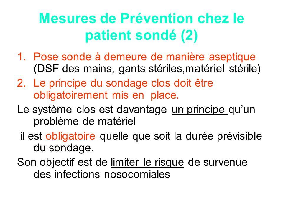 Mesures de Prévention chez le patient sondé (2) 1.Pose sonde à demeure de manière aseptique (DSF des mains, gants stériles,matériel stérile) 2.Le prin