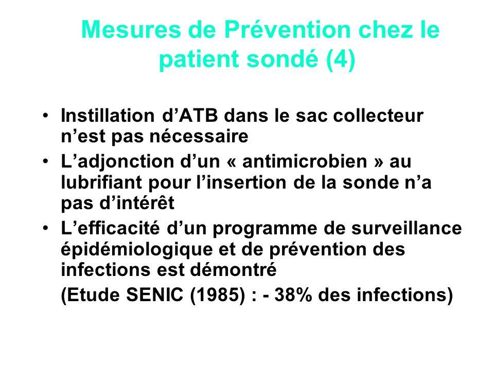 Instillation dATB dans le sac collecteur nest pas nécessaire Ladjonction dun « antimicrobien » au lubrifiant pour linsertion de la sonde na pas dintér