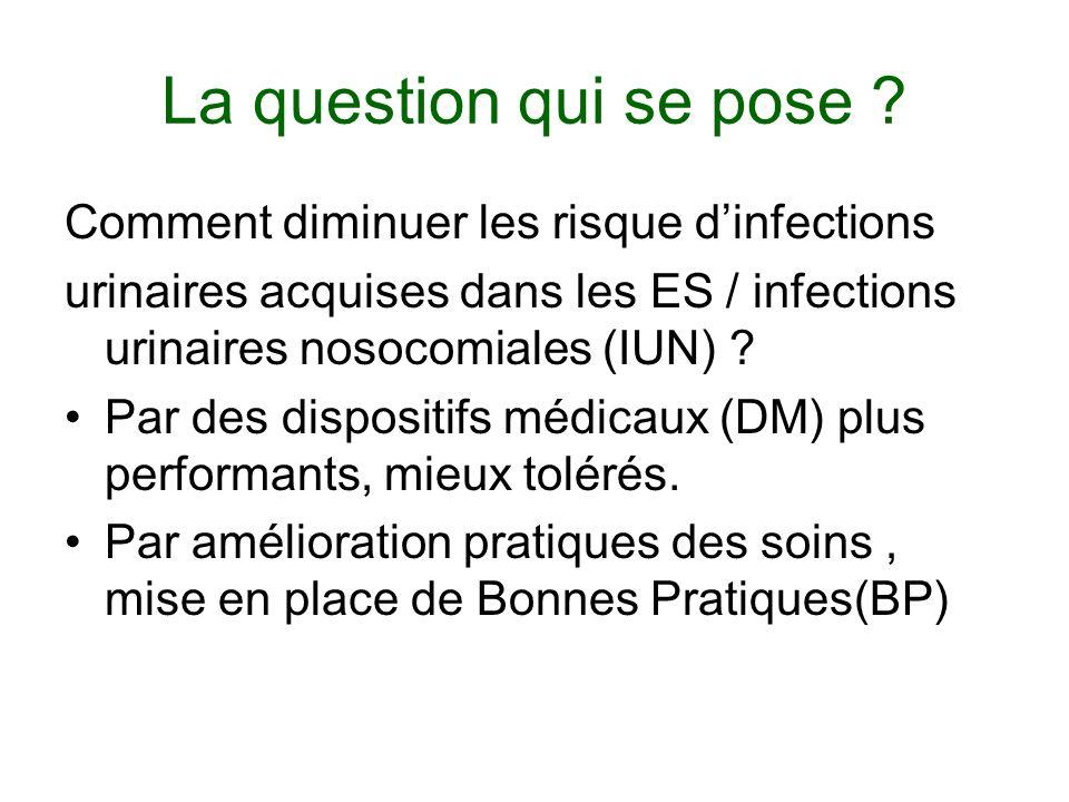 La question qui se pose ? Comment diminuer les risque dinfections urinaires acquises dans les ES / infections urinaires nosocomiales (IUN) ? Par des d