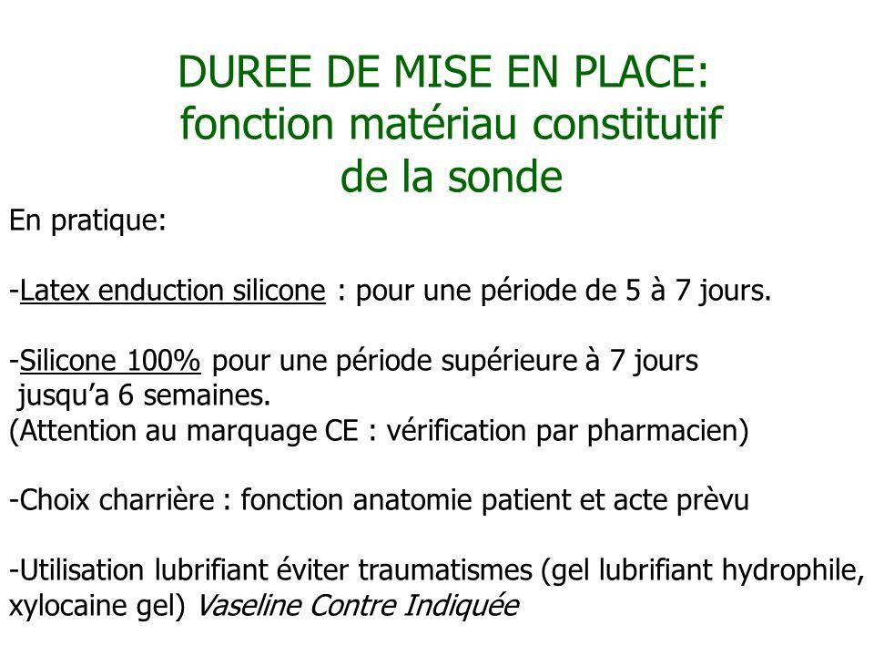 DUREE DE MISE EN PLACE: fonction matériau constitutif de la sonde En pratique: -Latex enduction silicone : pour une période de 5 à 7 jours. -Silicone