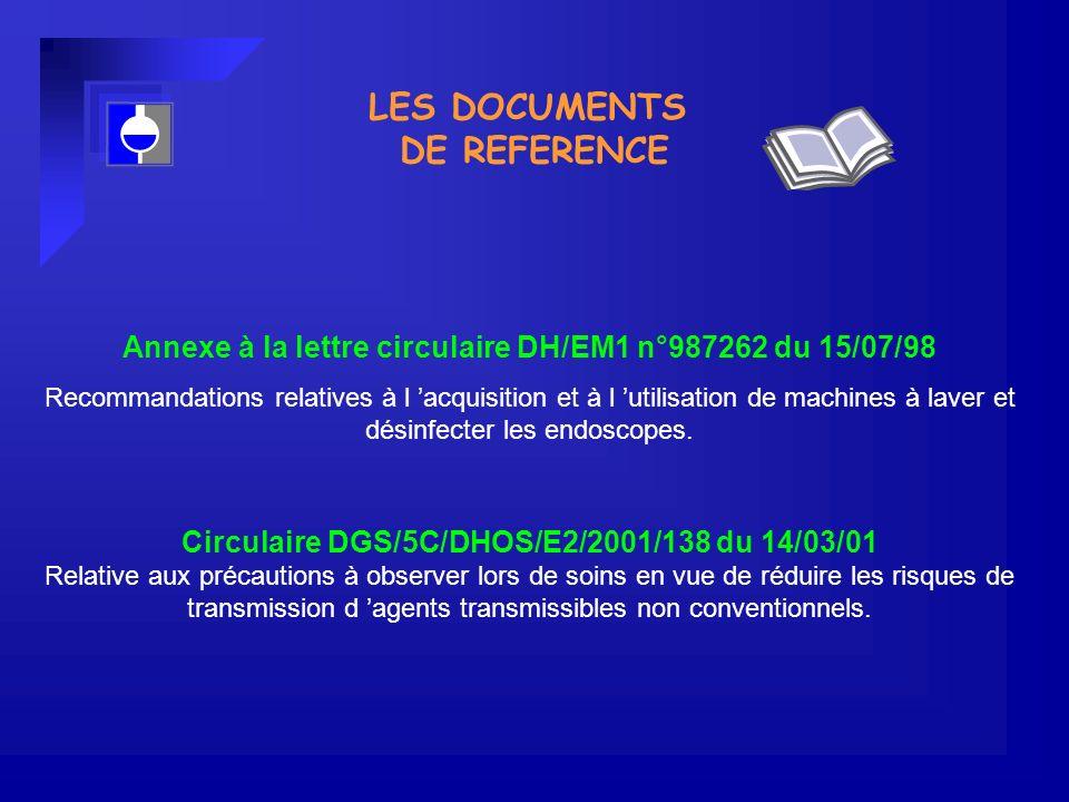 LES DOCUMENTS DE REFERENCE Annexe à la lettre circulaire DH/EM1 n°987262 du 15/07/98 Recommandations relatives à l acquisition et à l utilisation de machines à laver et désinfecter les endoscopes.