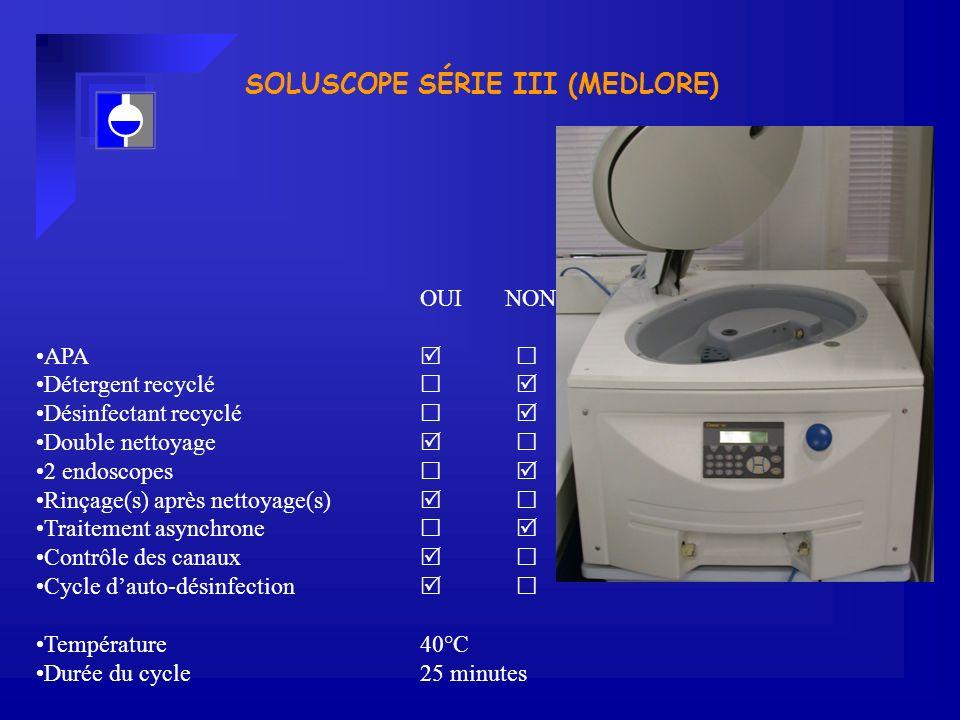 SOLUSCOPE SÉRIE III (MEDLORE) OUI NON APA Détergent recyclé Désinfectant recyclé Double nettoyage 2 endoscopes Rinçage(s) après nettoyage(s) Traitement asynchrone Contrôle des canaux Cycle dauto-désinfection Température 40°C Durée du cycle25 minutes