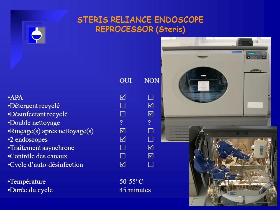 STERIS RELIANCE ENDOSCOPE REPROCESSOR (Steris) OUI NON APA Détergent recyclé Désinfectant recyclé Double nettoyage?.
