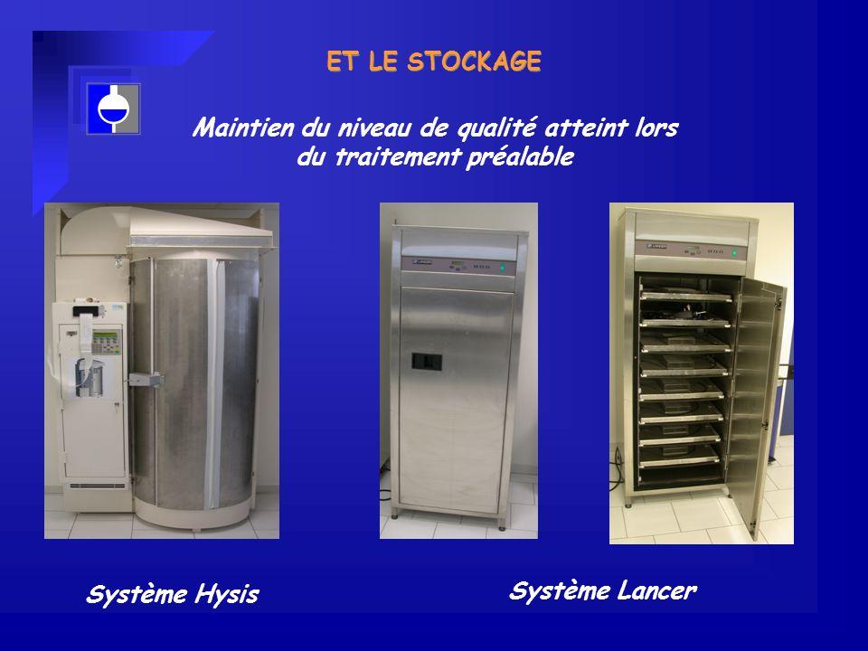 ET LE STOCKAGE Système Hysis Système Lancer Maintien du niveau de qualité atteint lors du traitement préalable