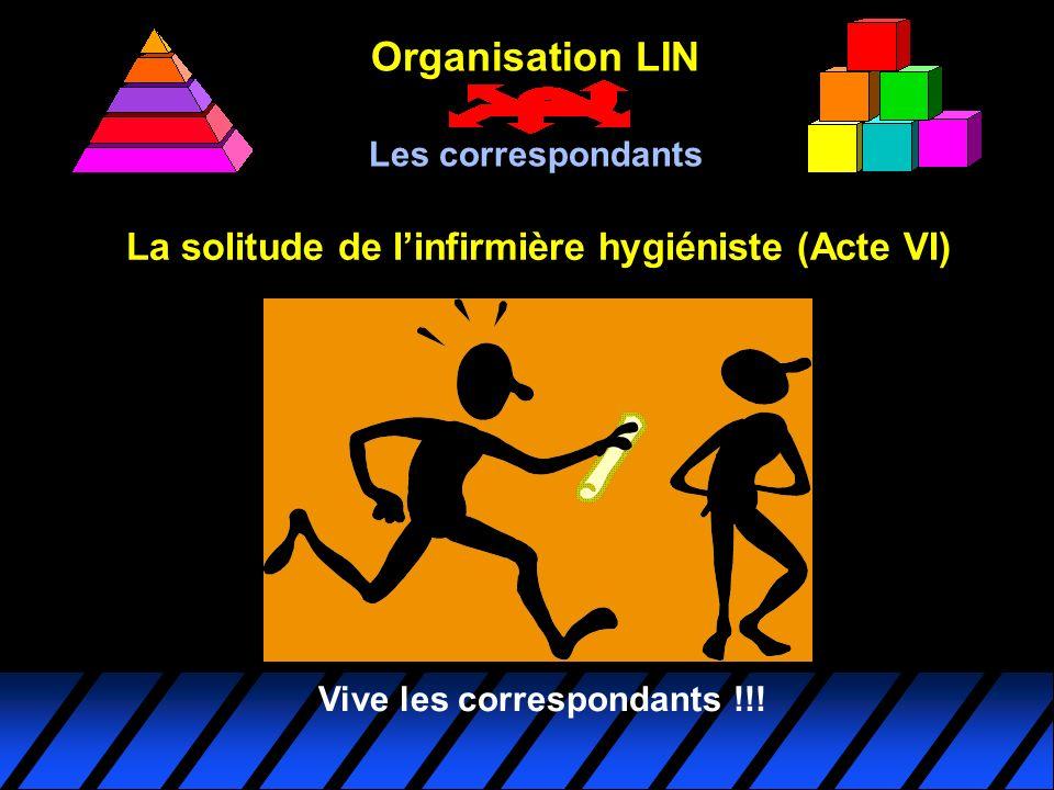 La solitude de linfirmière hygiéniste (Acte VI) Organisation LIN Les correspondants Vive les correspondants !!!