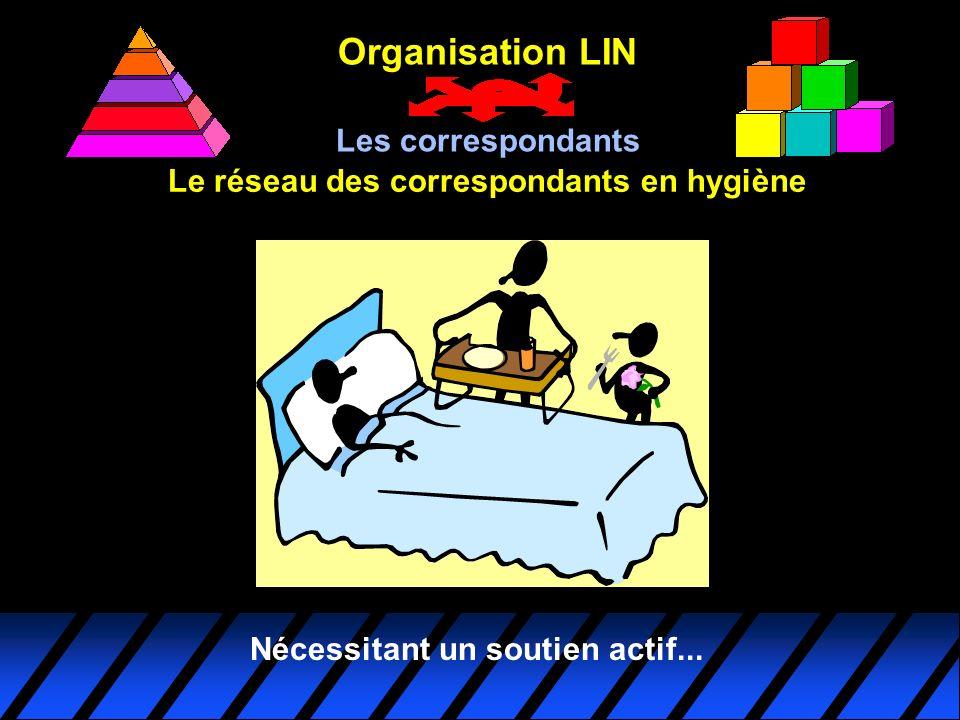 Le réseau des correspondants en hygiène Organisation LIN Les correspondants Nécessitant un soutien actif...