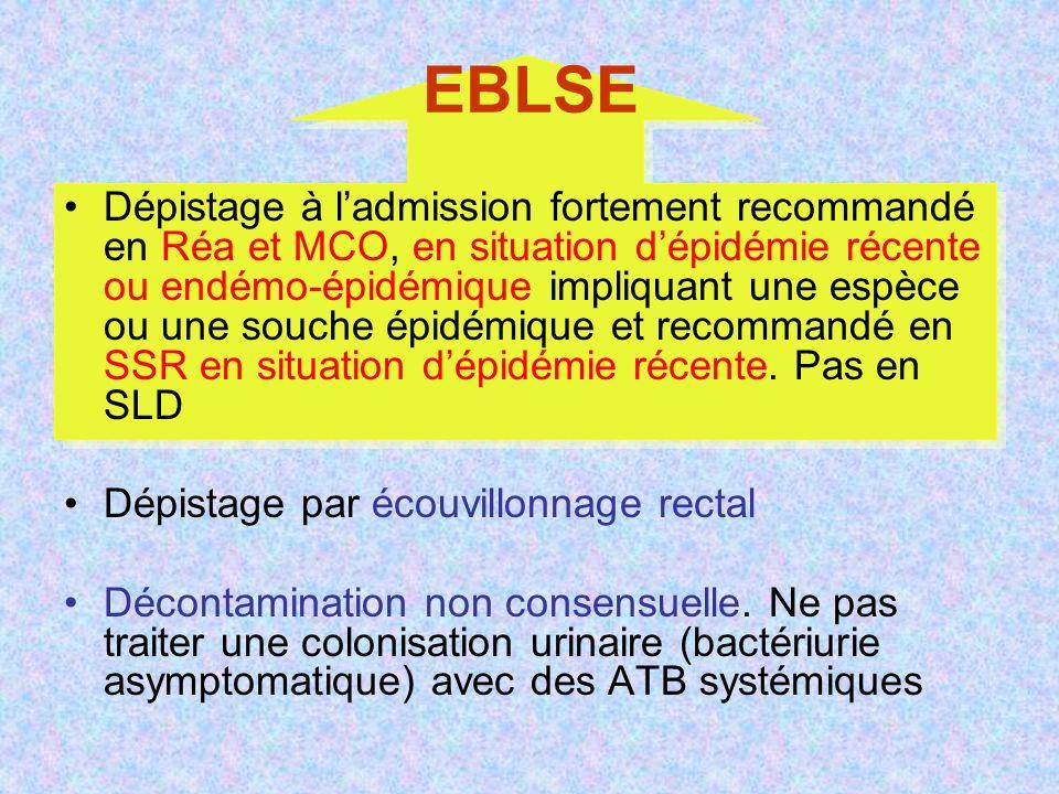 EBLSE Dépistage à ladmission fortement recommandé en Réa et MCO, en situation dépidémie récente ou endémo-épidémique impliquant une espèce ou une souche épidémique et recommandé en SSR en situation dépidémie récente.