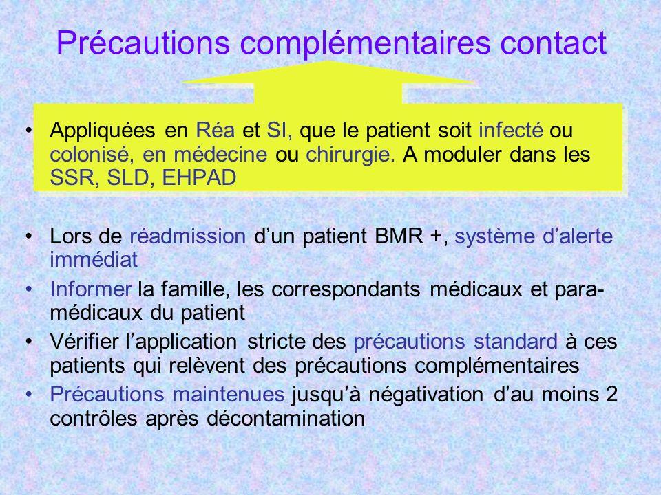 Précautions complémentaires contact Appliquées en Réa et SI, que le patient soit infecté ou colonisé, en médecine ou chirurgie.
