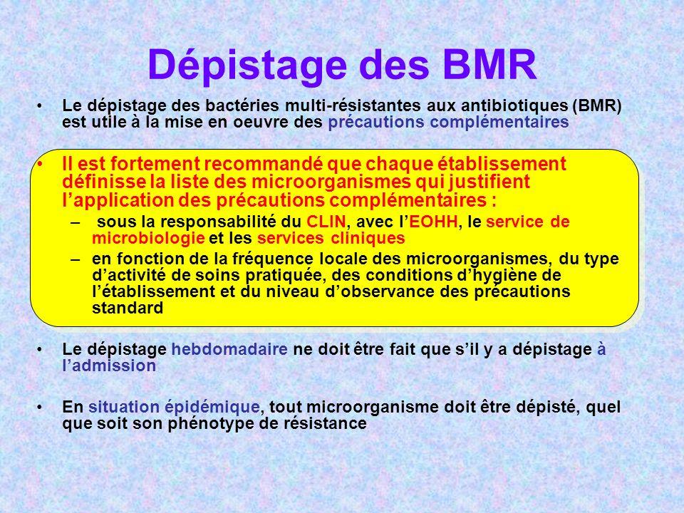 Dépistage des BMR Le dépistage des bactéries multi-résistantes aux antibiotiques (BMR) est utile à la mise en oeuvre des précautions complémentaires Il est fortement recommandé que chaque établissement définisse la liste des microorganismes qui justifient lapplication des précautions complémentaires : – sous la responsabilité du CLIN, avec lEOHH, le service de microbiologie et les services cliniques –en fonction de la fréquence locale des microorganismes, du type dactivité de soins pratiquée, des conditions dhygiène de létablissement et du niveau dobservance des précautions standard Le dépistage hebdomadaire ne doit être fait que sil y a dépistage à ladmission En situation épidémique, tout microorganisme doit être dépisté, quel que soit son phénotype de résistance