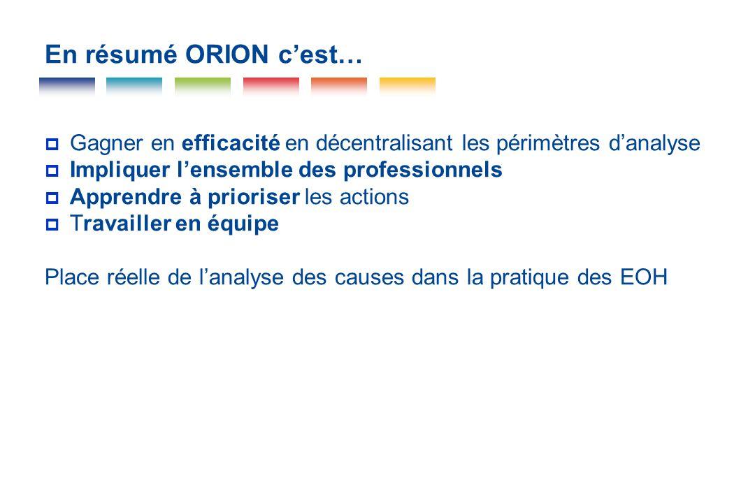 En résumé ORION cest… Gagner en efficacité en décentralisant les périmètres danalyse Impliquer lensemble des professionnels Apprendre à prioriser les
