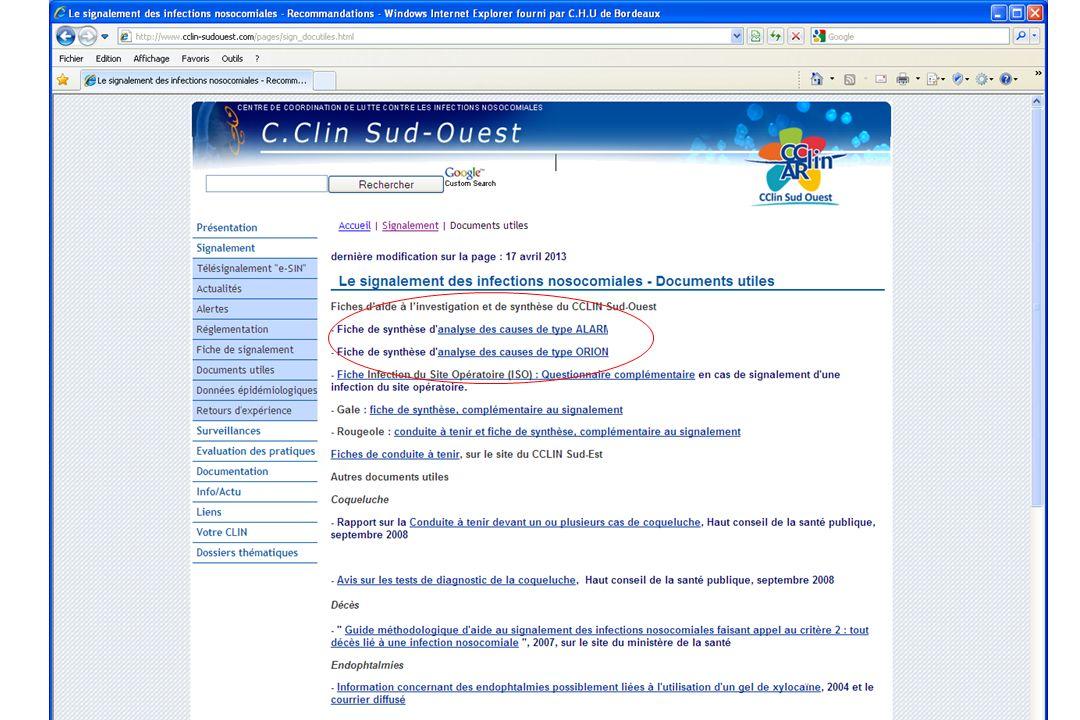 Préparer le rapport danalyse Tableau de synthèse vierge disponible sur le site du CCLIN Sud-ouest Onglet « signalement » Rubrique « documents utiles »