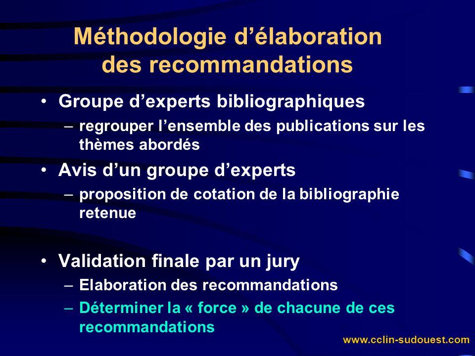 www.cclin-sudouest.com Méthodologie délaboration des recommandations Groupe dexperts bibliographiques –regrouper lensemble des publications sur les th
