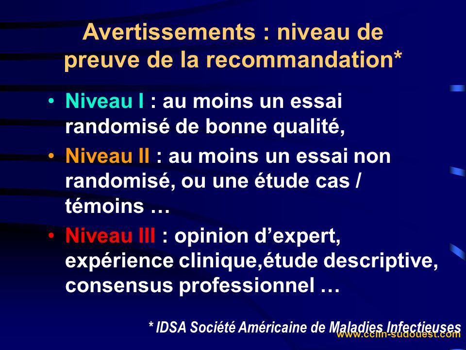 www.cclin-sudouest.com Niveau I : au moins un essai randomisé de bonne qualité, Niveau II : au moins un essai non randomisé, ou une étude cas / témoin