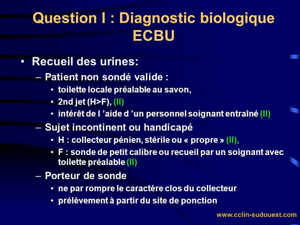 www.cclin-sudouest.com Question I : Diagnostic biologique ECBU Recueil des urines: –Patient non sondé valide : toilette locale préalable au savon, 2nd