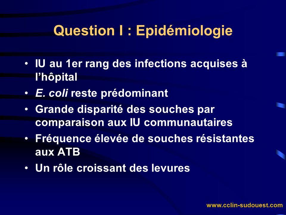 www.cclin-sudouest.com IU au 1er rang des infections acquises à lhôpital E. coli reste prédominant Grande disparité des souches par comparaison aux IU