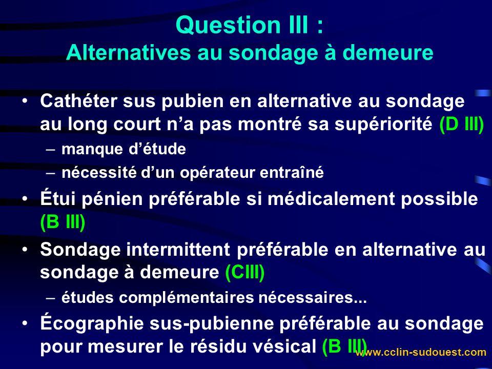 www.cclin-sudouest.com Question III : Alternatives au sondage à demeure Cathéter sus pubien en alternative au sondage au long court na pas montré sa s